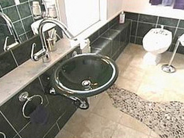 The various tiles work together as a whole in the room.