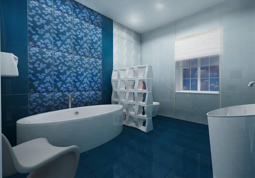 Fresh-bathroom-with-bathroom-sink-white-bathtub-toilet-white-chair-and-blue-ceramic-tiles